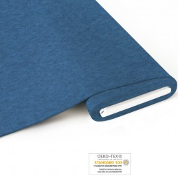 Bio French Terry brushed meliert - blau - Art-Nr.  1100-615