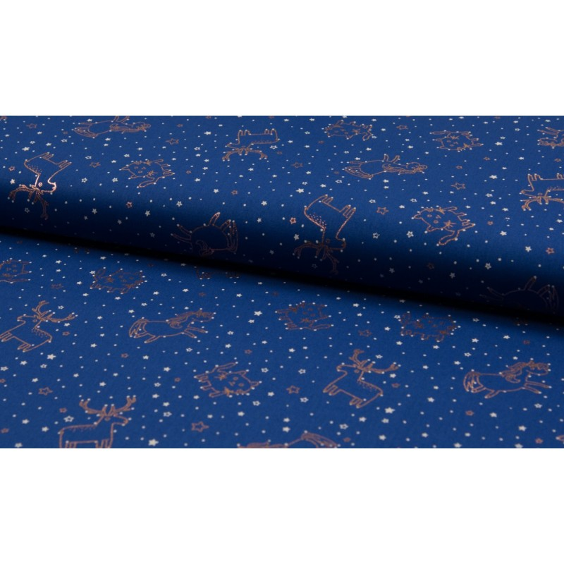 COTTON POPLIN FOIL PRINT - IN THE STARS NAVY - KC2062-008