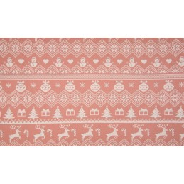 FRENCH TERRY PRINT BRUSHED - XMAS KNIT DUSTY PINK - KC8304-013