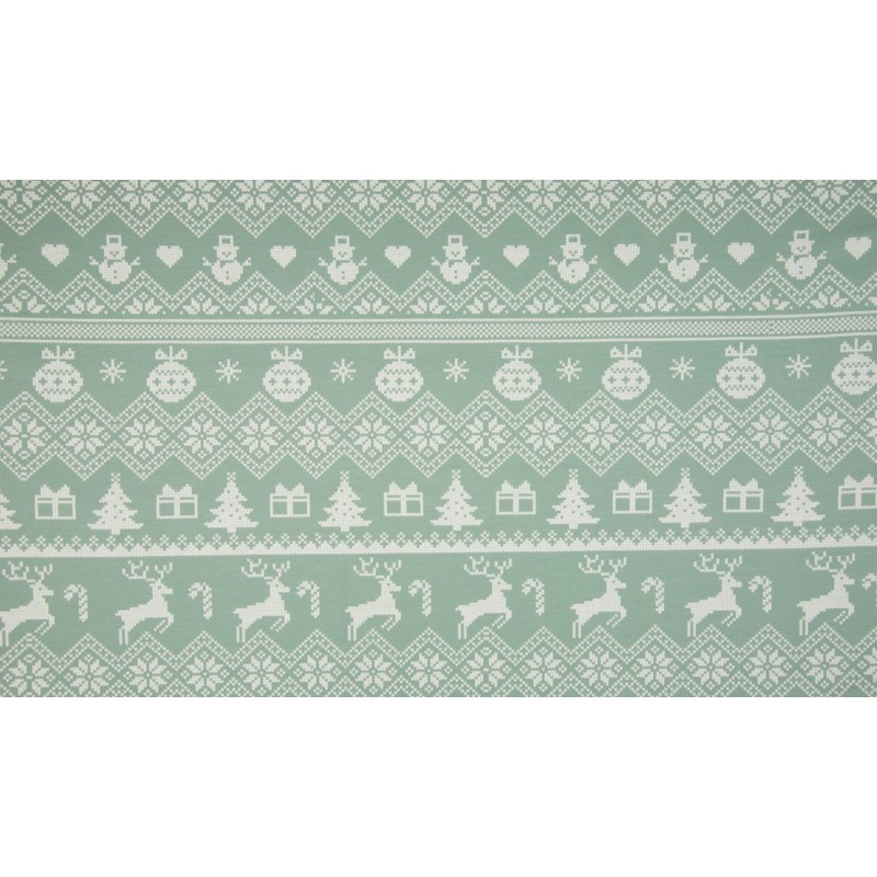 FRENCH TERRY PRINT BRUSHED - XMAS KNIT DUSTY GREEN - KC8304-023
