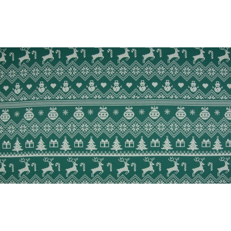 FRENCH TERRY PRINT BRUSHED - XMAS KNIT DUSTY DARK GREEN - KC8304-025
