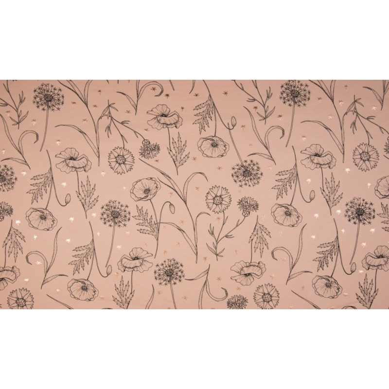 FRENCH TERRY PRINT  - STYLISH FLOWERS DUSTY PINK - KC8310-013