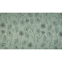 FRENCH TERRY PRINT  - STYLISH FLOWERS DUSTY GREEN - KC8310-023